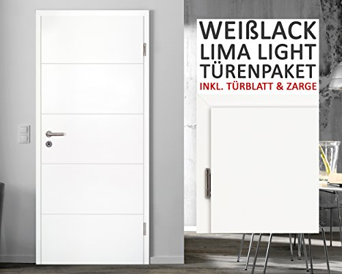 Preisvergleich Produktbild Weißlack Zimmertüren Querstreifen Paket Lima light 6 Elemente Türblatt + Zarge Wandstärke 8-33 cm