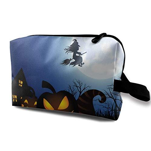 With Wristlet Cosmetic Bags Spooky Halloween Travel Portable Makeup Bag Zipper Wallet Hangbag