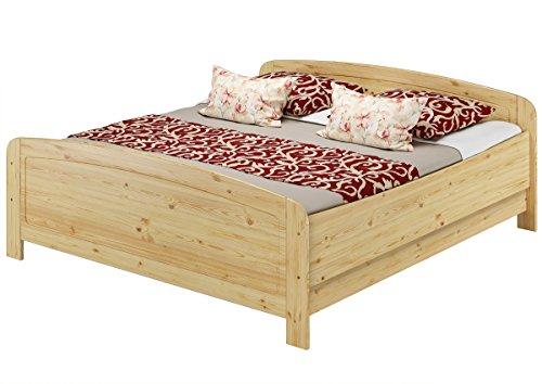 Seniorenbett extra hoch 180×220 Doppelbett Kiefer massiv, Holzbett mit wählbarem Zubehör V-60.44-18-220