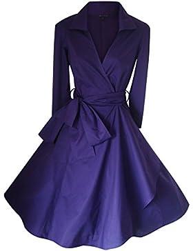 Abito da donna stile vintage, anni '40/'50,Rockabilly/Swing/pin-up, in cotone, a portafoglio, taglie 36–52+