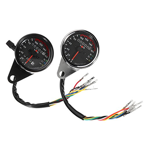 Forspero 12V Motorrad Speedometer Odometer Led Backlight Night Readable Speed Meter Motorbike Instrument - Black