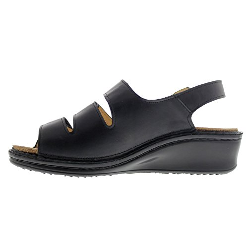 Finn Comfort Womens 2664 Samoa Nappaseda Leather Sandals Black