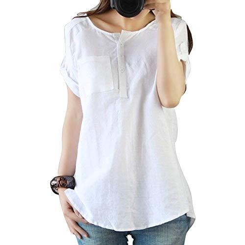 Damen T Shirt Kurzarm Tops Sommer Classic Bluse Leinen Casual Pullover Hemd Blusen Shirts Rundhals Freizeithemd Tunika Oberteil Frauen (Color : Weiß, Size : M)