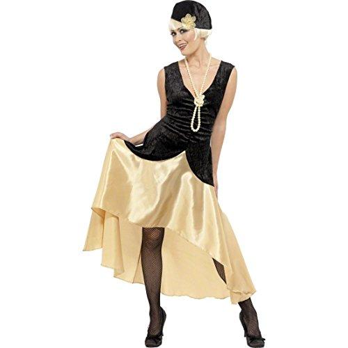 (NET TOYS Charlestonkostüm 20er 30er Jahre Gatsby Kostüm gold schwarz L 44/46 Can Can Kleid Damenkostüm Charleston Damen Kostüm)