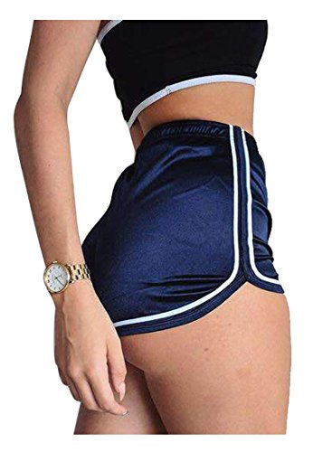 Mangotree Damen Sport Shorts Glänzende metallische Hosen Yoga Hot Shorts Aktive Lounge Shorts Tanz Shorts mit farbigen Kanten (XL, Blau) (Damen French-terry-hose)