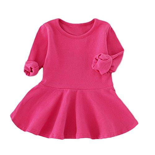 YWLINK MäDchen SüßIgkeitsfarbe Klassisch Lange ÄRmel FrüHling Party Kleiden Volltonfarbe Prinzessin Freizeit O-Kragen Kinder Regenschirm Kleid(Heiß ()