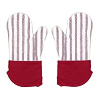Keyzone Silicone Oven Mitts Heat Resistant Kitchen Oven Gloves for BBQ Cooking Baking Grilling Barbecue Microwave Machine (Red)
