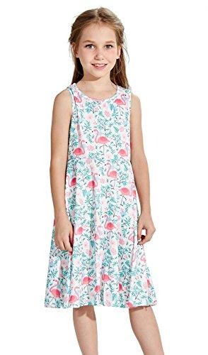 (Funnycokid Mädchen Kleider Blau Cartoon Party Kinder Sommerkleid Flamingos 4-13 Jahre)