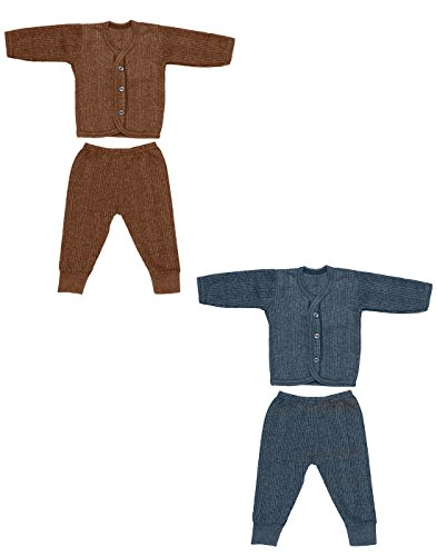 Babeezworld Thermal Top & Pyjama Set for Baby Boys & Baby Girls Pack Of 2 (0-3 Months)