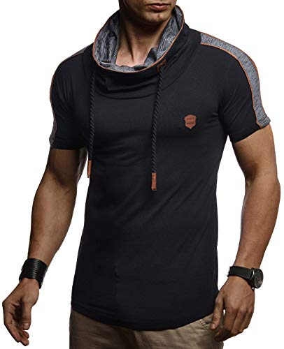 LEIF NELSON Herren Sommer T-Shirt Slim Fit Basic Baumwolle-Anteil | Basic Männer Kapuzenshirt Vintage | Jungen Kurzarmshirt Hoodie-Sweatshirt Kurzarm lang | LN4850 Schwarz Medium