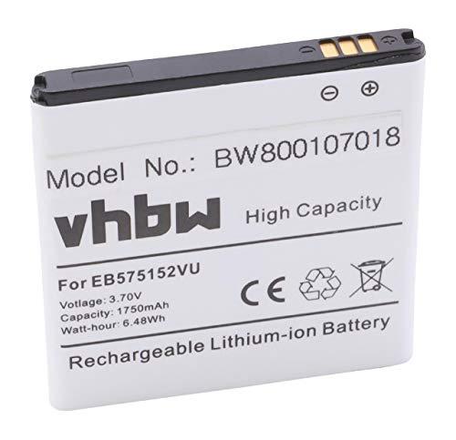 vhbw Li-Ion Akku 1750mAh (3.7V) für Telefon Samsung GT-I8250, GT-i9000, GT-i9000M, GT-I9003, GT-I9008, GT-I9010 wie EB575152, EB575152LA. (Handy-akku Eb575152la)