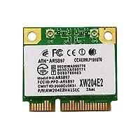 محول شبكة لاسلكي NETELY للحاسوب المحمول كوالكوم Atheros AR9287 AR5B97 محول شبكة لاسلكي - Mini PCIE Wifi Card-802.11N 2x2 MIMO2.4GHz 300Mbps-Mini PCIE Wireless (NET-AR9287)