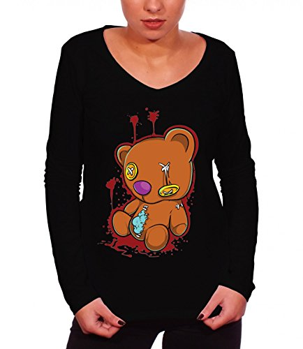 Three Monkeys Bloody Teddy Bear Animals Collection Women's Claire Long Sleeve T-Shirt Nero Large