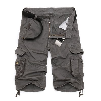 WDDGPZDK Strand Shorts/Militärische Cargo Shorts Men Sommer Tarnung aus Reiner Baumwolle Kleidung Bequeme Männer Tactical Camo Cargo Shorts, Eisen Grau, 30.