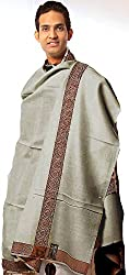 Exotic India Plain Mens Shawl with Brown Woven Border - Color TaupeColor Free Size