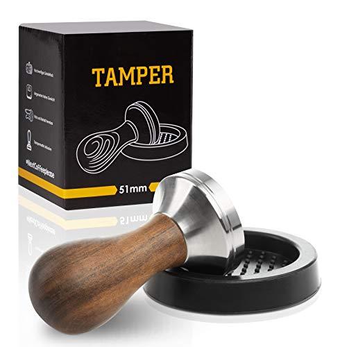 Premium Espresso Tamper Set 51mm - Kaffeestampfer aus Edelstahl mit Einem elegant geformten Echtholzgriff – Espresso Stempel für den vollmundigen Genuss - Passende Tampermatte inklusive!