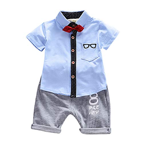 Cuteelf Kinderanzug Baby Boy Gentleman Kinder Cartoon Brille Fliege Kurzarm + Shorts Gentleman Anzug Fliege Hemd Casual Art und Weise lebendig und spielerisch
