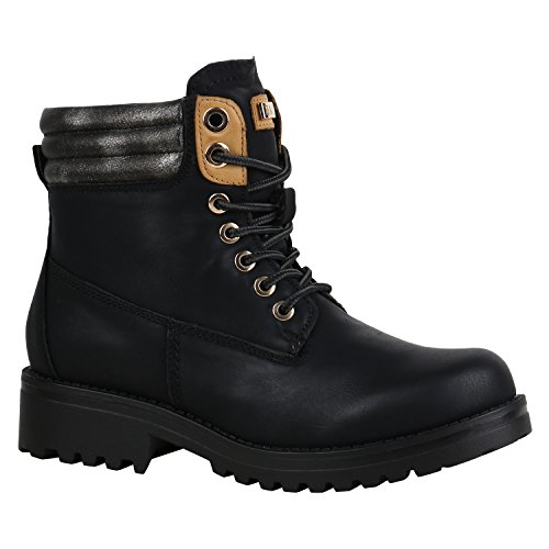 Stiefelparadies Damen Stiefeletten Worker Boots Warm Gefüttert 155975 Schwarz Glitzer 38 Flandell