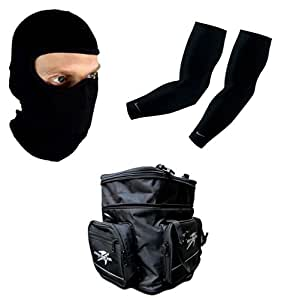 Auto Pearl Premium Quality Bike Accessories Combo Of Balaclava Black Face Mask Net For Bike Riding Sunscreen Dust Proof Mask. & Arm Sleeve for Protection against Sun, Dust and Pollution Black 2 Pcs. & Pro Biker Motorcycle Helmet Bag with Practical Pockets Water-resistant Shoulder Bag for Driving Riding Traveling Equipment.