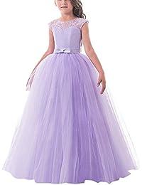 b486fe390 NNJXD Vestido de Fiesta de Tul de Encaje Falda de Princesa para Niñas