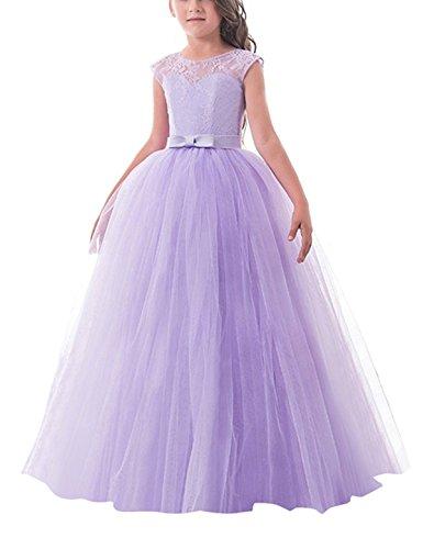 NNJXD Mädchen Kinder Spitze Tüll Hochzeit Kleid Prinzessin Kleider Größe (130) 6-7 Jahre Lila
