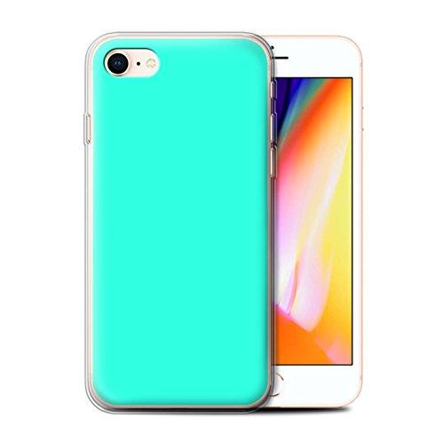 Stuff4 Gel TPU Hülle / Case für Apple iPhone 7 / Hellblau Muster / Farben Kollektion Türkis