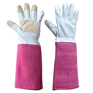 Thornproof Leather Gardening Gloves Long Sleeve For Women and Men,Rose Pruning Floral Gauntlet Garden Gloves (Large, Rose)