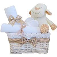 Little Lamb Unisex bianco Baby–Cestino Cesto Set Regalo/Unisex/Neutro–regalo/Baby Shower Regalo per Neonato,–Spedizione Veloce/Neutro