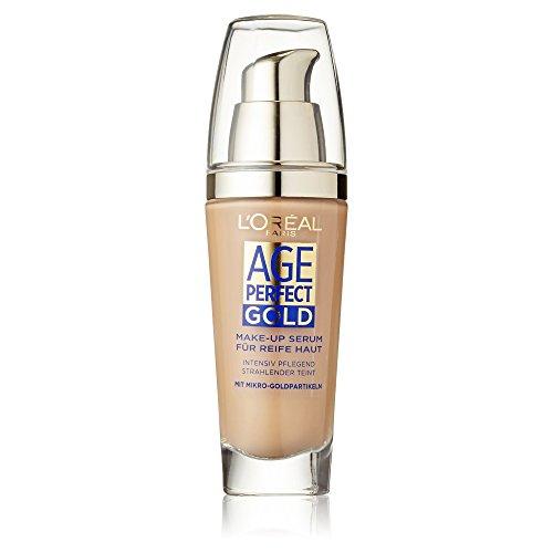 L'Oréal Paris Foundation Age Perfect Gold, 250 Sand - deckendes Make Up mit Lifting Effekt für reife Haut, feuchtigkeitsspendend & pflegend, 1er Pack (1 x 25 ml) (Straffende Creme Loreal)