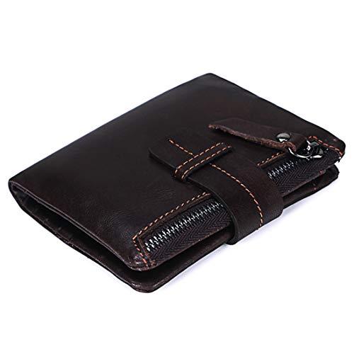 Wennew Ölwachs Leder Geldbörse Unisex Minimalist Tragbare ultraleichte Brieftasche Reißverschlusstasche Sicherheitsleckprüfung (Farbe : Braun)