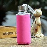 300ml Glastrinkflasche Borosilikatglas Wasserflasche mit Stoffbeutel Tragbare Reisegetränkeflasche -Rose Rot