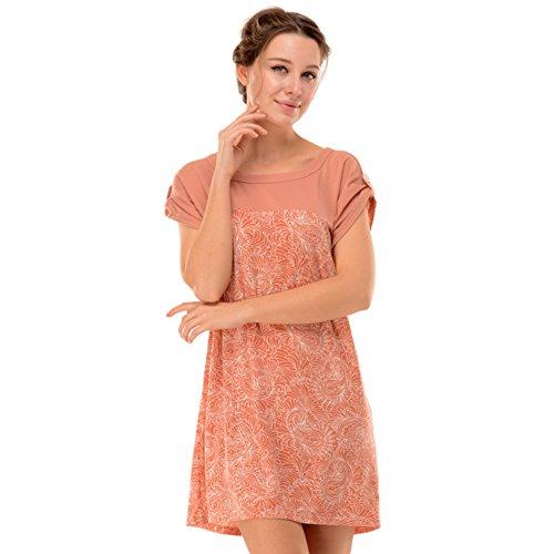 pyjamas d'été/Ladies' tricoté coton crew neck short sleeve jupe impression chemise de nuit/ chemise de nuit sexy A