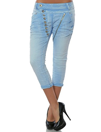 Daleus Damen Boyfriend Bermuda Capri-Jeans 7/8 Haremshose Baggy kurze Hose Reißverschluss Knopfleiste No 15633, Farbe:Hellblau;Größe:40/L