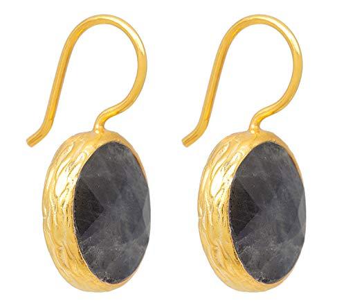 SARAH BOSMAN Damen Ohrringe Gold Plate Labradorit - Runde Ohrhänger Silber vergoldet eingefasster Grauer Edelstein - 16 mm Durchmesser - SAB-E01GRALABg (Perle Ohrringe Graue Gold)