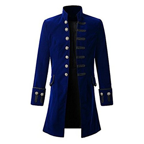 ampunk Gothic Langarm Jacke Retro Mittellang Mantel Kostüm Cosplay Uniform für Männer Blau M (Gothic Kostüme)