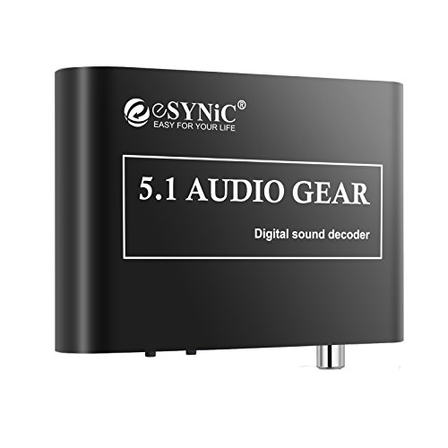 ESYNiC DAC Digitale Audio Decoder ad Analogico 5.1 Convertitore - Supporta DTS AC3 Dolby Segnale Digitale Ottico Coassiale e Segnale Audio Stereo (R/L) all'Uscita Analogica 5.1/2.1