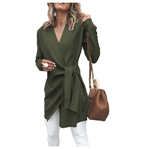CuteRose Womens Mid-Length V-Neck Belted Wrap Outwear Cardigan Coat Army Green M Black 3/4 Sleeve Belted