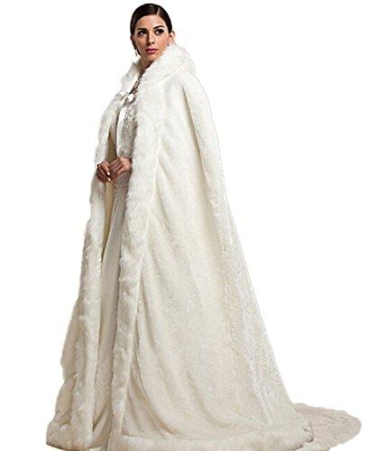 CoCogirls Übergröße Winter Braut-Umhang Party-Abend Kunstpelz ponchos mit Kapuze Mantel Hochzeit Wraps für Brautkleid Hochzeitskleid Mantel (One Size, Weiß) (Wrap Abend)