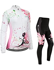 Maillot de Cyclisme Femme Manches Longues jersey(S~5XL,option:Cuissard,3D Coussin) N221