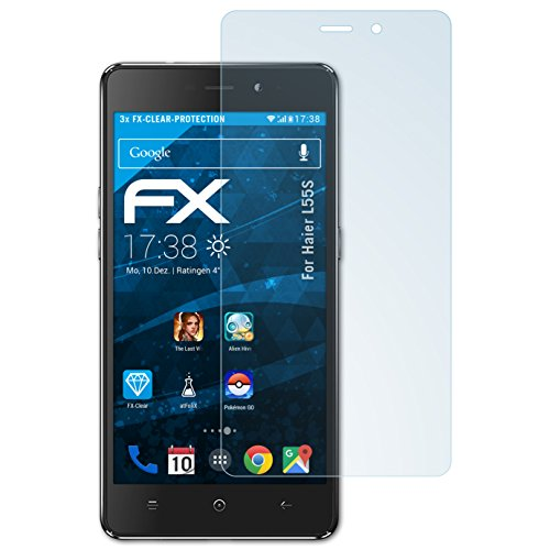atFolix Schutzfolie kompatibel mit Haier L55S Folie, ultraklare FX Bildschirmschutzfolie (3X)