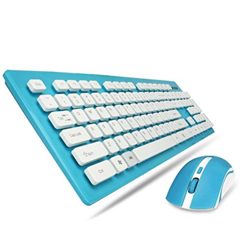 Price comparison product image LN 2.4G wireless mouse keyboard set game Bluetooth ultra-thin energy-saving keyboard mouse set , blue