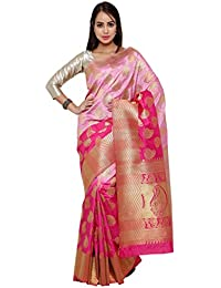 Varkala Silk Sarees Women's Art Silk Banarasi Saree With Blouse Piece(ND1081LVRN_Lavender_Free Size)