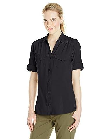 ExOfficio Women's Camina Trek'r Short Sleeve Shirt, Black, Small by ExOfficio