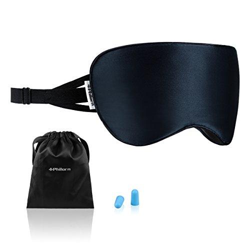 Philorn Natürliche Seide Schlafmaske Frauen/Herren, Weich & Hautfreundlich Augenmaske Damen mit Verstellbarem Gurt & Ohrstöpsel, Blockiert 100% Licht, Reine Baumwolle Gefüllte Schlafbrille (Navy Blau)