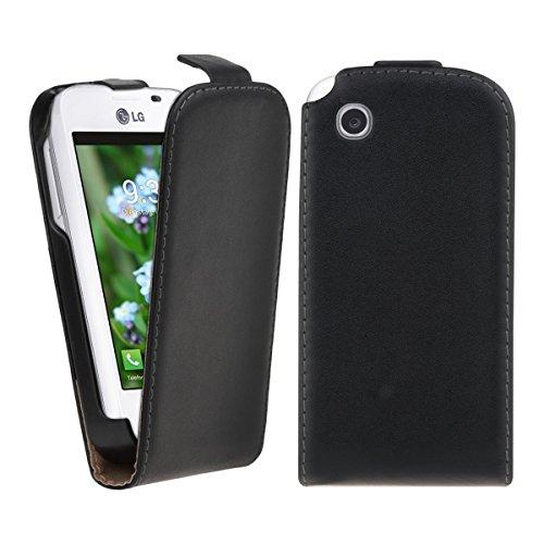 kwmobile Funda de cuero sintético Flip Style para LG L40 con un práctico cierre magnético en negro