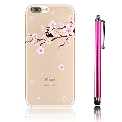 iPhone 7 Plus Case (5.5), iPhone 7 Plus Custodia, Bonice TPU trasparente Ultra Slim Thin 3D Case + Stilo Penna - butterfly Girl model 1