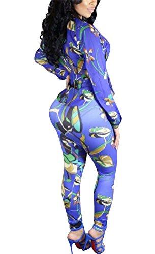 Brinny 3D stéréo Impression Numérique Floral Deux-pièces Femme Sexy Tops Blouse Legging Moulante Crayon Pantalon Trouser Bleu / Rouge Taille S-XL Bleu