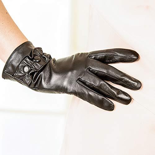 Agelec Touchscreen Vollfinger Leder Handschuh Damen Schaffell Handschuhe Dünnschliff Schaffell Handschuhe Winter Touchscreen Warm Riding Lederhandschuhe (Color : Thin Lining, Größe : XS)