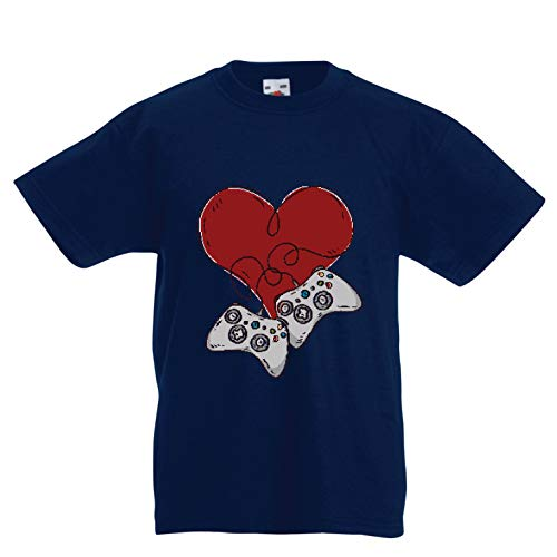 lepni.me Kinder Jungen/Mädchen T-Shirt Video-Spieler, Controller Herz (9-11 Years Dunkelblau Mehrfarben) -