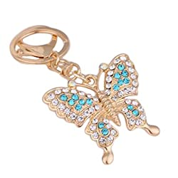 Cupcinu Key Rings Cute Diamond Butterfly Keyrings Keychain Crystal Rhinestone Pendant Rings Keyfobs Purse Handbag Car Phone Accessories Gifts Souvenirs